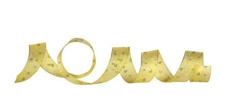 Gold horizontal ribbon on the white isolated background  photo