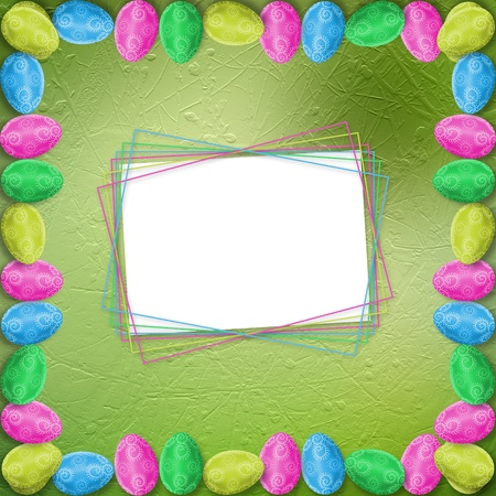 Pastel background with colored eggs to celebrate Easter  photo