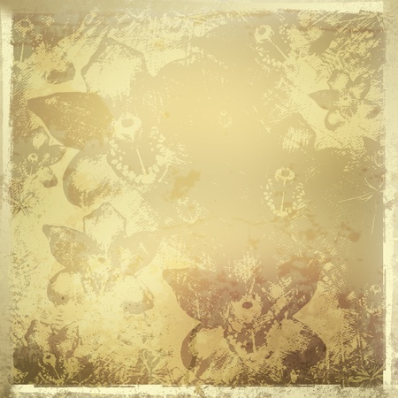 Card for invitation or congratulation with gold orchids Stock Photo - 12034311