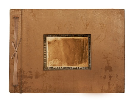 Vintage photoalbum for photos on white isolated background photo