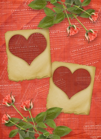 betrothal: Greeting Card to St. Valentines Day with hearts and roses Stock Photo