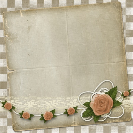 Card for invitation or congratulation with buttonhole and lace  photo