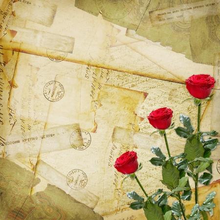 telegrama: De fondo antiguo de edad, viejos sobres postales, y se levantó