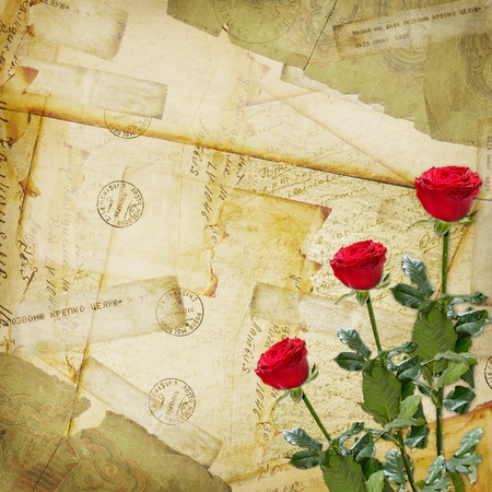 Vintage aged background, old Postcard, envelopes and rose Stock Photo - 12072287
