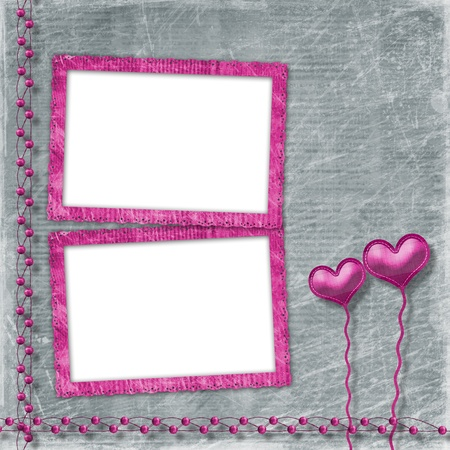 torn cardboard:  Old frame with hearts for congratulation to holiday Stock Photo
