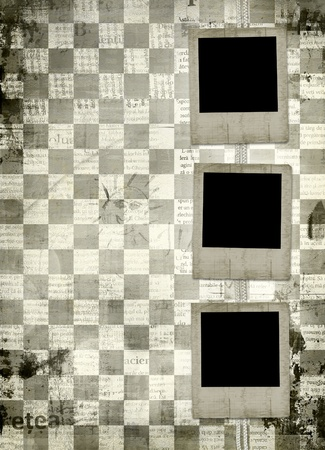 Grunge slides from old papers on the abstract chess  background  photo