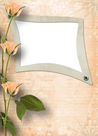 Grunge frame for photo with beautiful roses photo