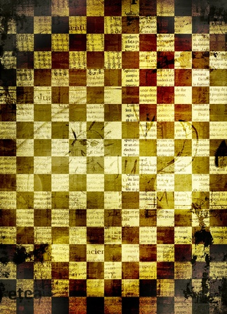 alienated: Abstract chess  background for design with grunge papers Stock Photo
