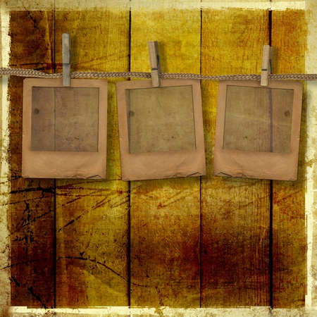 Old grunge slides on the wooden background  photo