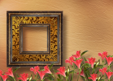 Old grunge frames Victorian style on the abstract background with flowers photo