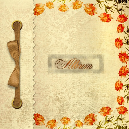 old notebook: Grunge gold album for photos with bow and painted roses