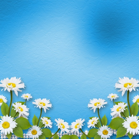 page decoration: Card for invitation or congratulation with bouquet of flowers  Stock Photo