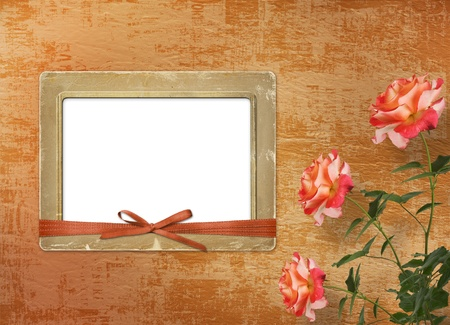 rosy: Grunge background for congratulation with beautiful rose