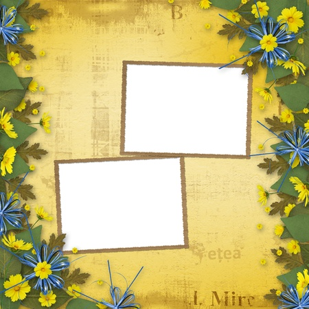 Congratulation to the holiday with paper and yellow flowers  photo