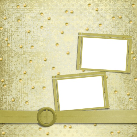Abstract ancient background in scrapbooking style with gold ornament photo