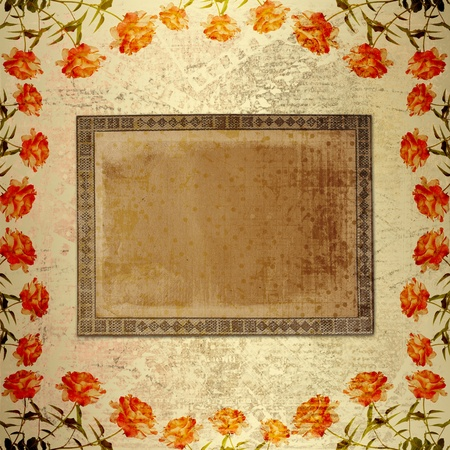 14th: Alienated gold paper background  for announcement with rose Stock Photo