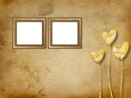 14th: Card for congratulation or invitation with hearts