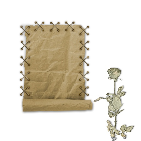 Grunge paper design in scrapbooking style on the white isolated background with roses photo