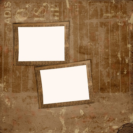 Grunge cover for album or portfolio on the newspaper background with frame