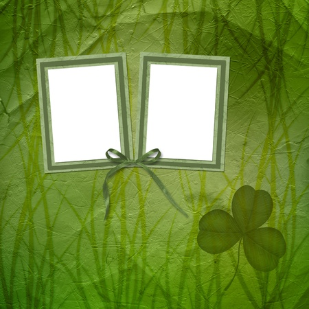 Grunge green background with ancient ornament for St. Patricks Day photo