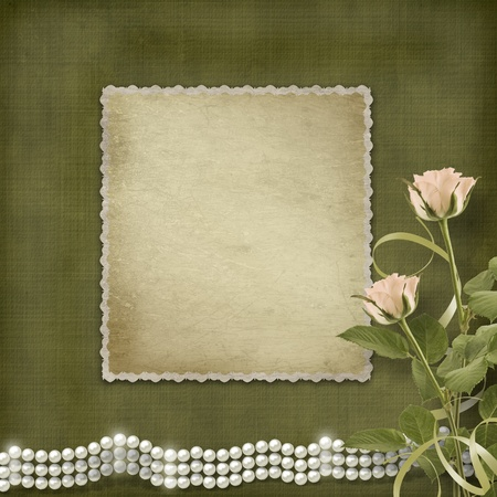 mother of pearl: Vintage old postcard for congratulation with roses and pearls