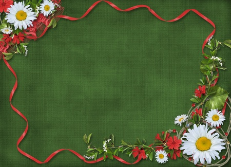 ox eye daisy: Paper frame with floral beautiful bouquet on the green background