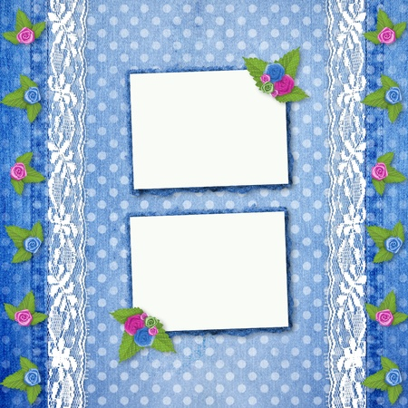 cotton flower: Abstract blue jeans background with lace and buttonhole for greeting
