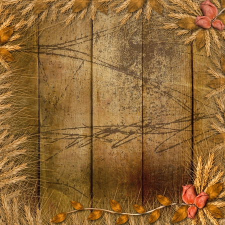 Grunge cover in scrapbooking style with bunch of rose Stock Photo - 12313820