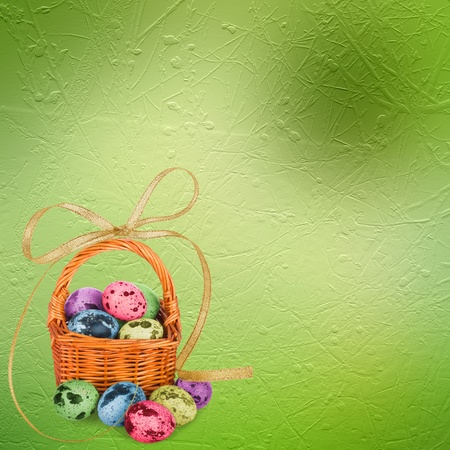 quail egg: Pastel background with multicolored eggs to celebrate Easter Stock Photo