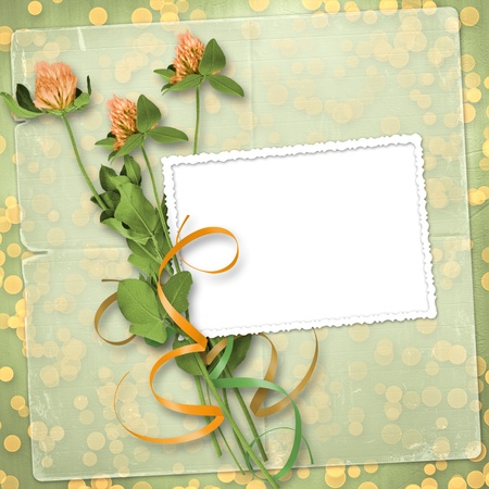 grunge paper for congratulation with bunch of clover Stock Photo - 12313863