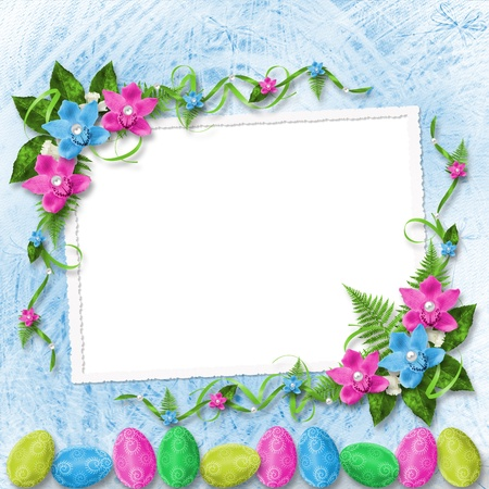 Pastel background with colored eggs and orchids to celebrate Easter Stock Photo - 12313870