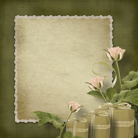 Vintage postcard for congratulation with roses and gifts Stock Photo - 12313872