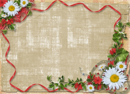 Paper frame with floral beautiful bouquet on the alienated background photo