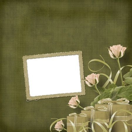Vintage postcard for congratulation with roses and gifts photo