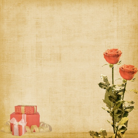 album greetings: Vintage postcard for congratulation with roses and gifts