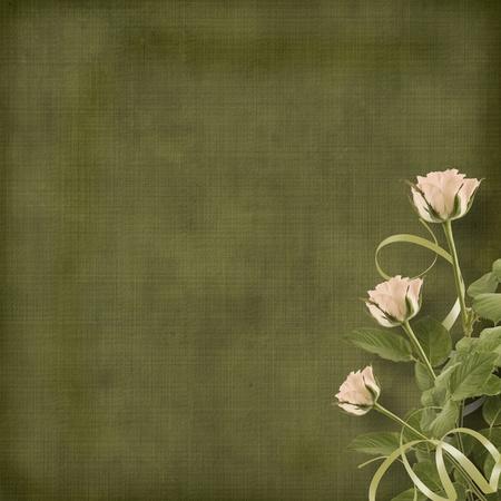 wedding backdrop: Vintage cartolina per congratulazioni con rose e nastri