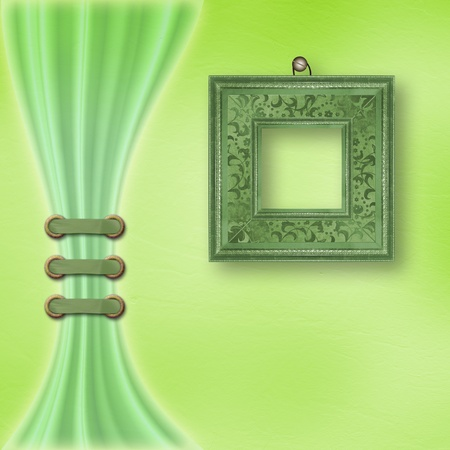 Delicate green pastel background with ornate frame and light curtain  photo