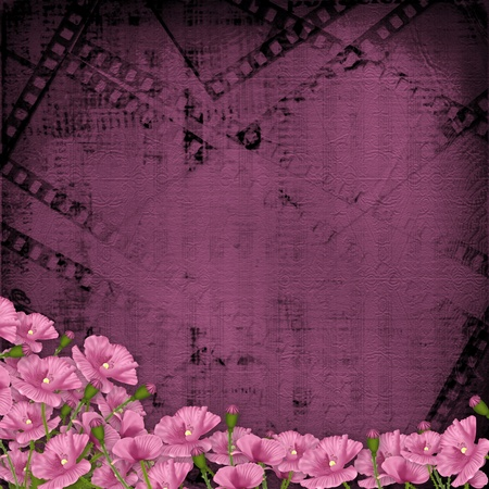 Grunge purple background with ancient digital ornament for greeting photo