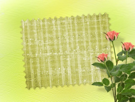 wedlock: Card for congratulation or invitation with bunch of flowers Stock Photo