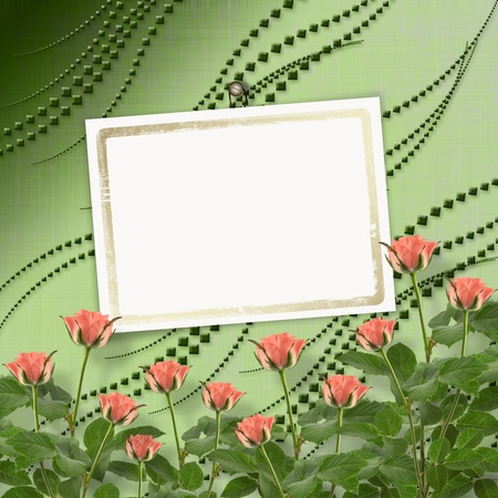 Card for congratulation or invitation with bunch of flowers photo