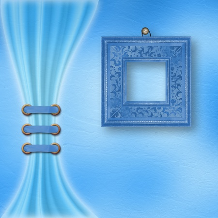 Delicate blue pastel background with ornate frame and light curtain  photo