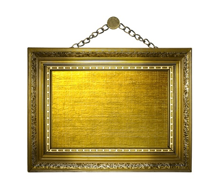 Picture gold frame on the white isolated background Stock Photo - 12769413