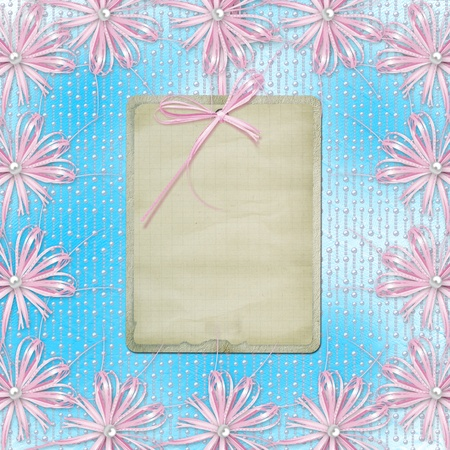 Blue card for invitation or congratulation with pink bow and ribbons photo