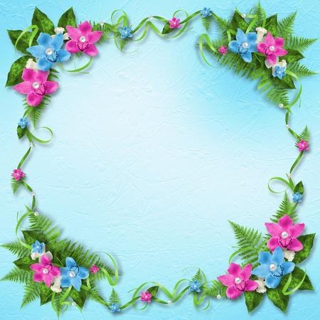 Invitation on the delicate  pastel background with a garland of pink and blue orchids Stock Photo - 12769598