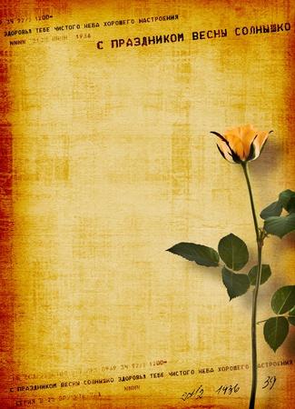telegrama: Postal antigua de felicitación o invitación con ramo de flores