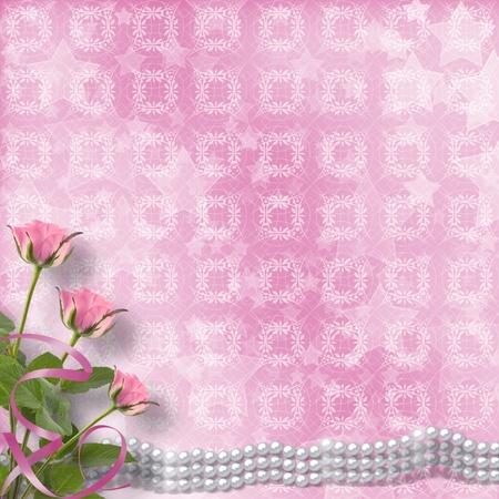 perle rose: Vintage carte postale ancienne de se f�liciter de roses et de perles Banque d'images