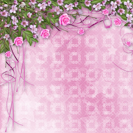 Ornamental abstract background with sakura and roses photo