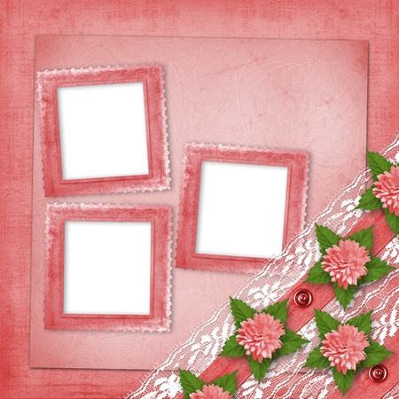 Abstract background with asters and lace for holiday invitations or greetings photo