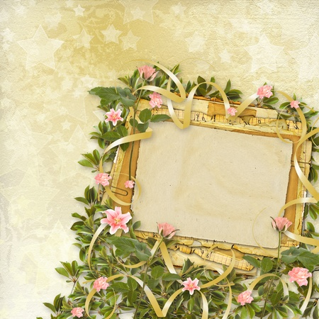 album background: Vintage postcard for congratulation with roses and ribbons Stock Photo
