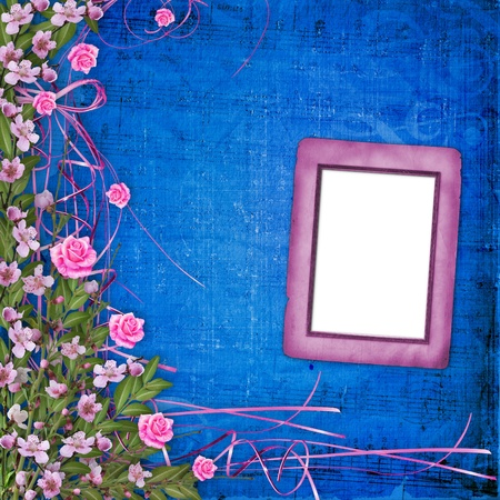 Writing abstract background with floral beautiful bouquet photo
